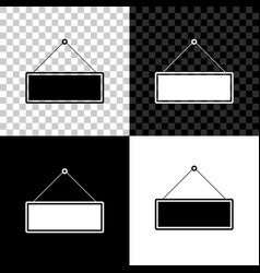signboard hanging icon isolated on black white vector image