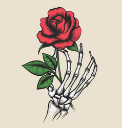 skeleton hand with rose tattoo style vector image