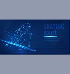 skiing speed race skating sport ice skiing race vector image
