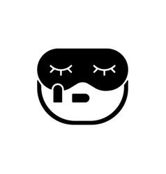 Sleeping mask and earplugs black glyph icon vector
