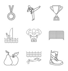 sport lifestyle icons set outline style vector image