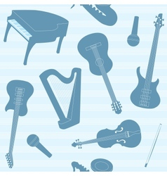 Striped pattern with musical instruments vector image vector image