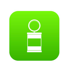 trash can with pedal icon digital green vector image