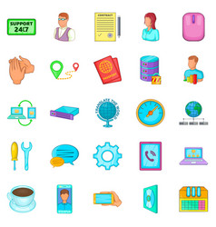 Ubiquitous globalization icons set cartoon style vector