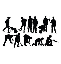 Various types silhouettes for working people vector