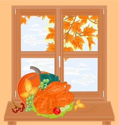 Window and celebratory food healthy food vector image
