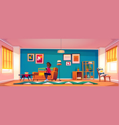 woman with smartphone sitting on sofa at home vector image