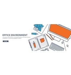 Workplace with table and computer Computer vector image