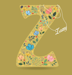 Yellow letter z with floral decor and necklace vector