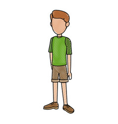 Young boy standing kid wearing short vector