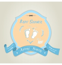 Baby shower invitation with baby feet vector image vector image