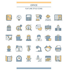 flat line design office icons vector image vector image