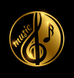 luxury music logo design - golden shiny musical vector image vector image