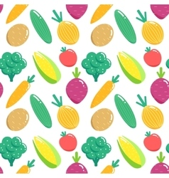 Seamless pattern with vegetables Flat veggies vector image vector image