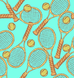 Sketch tennis equipment in vintage style vector image vector image