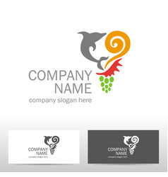travel logo design with dolphin vector image
