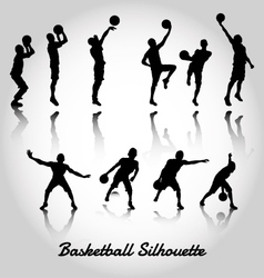 Attack and deffense basketbal silhouette vector image vector image