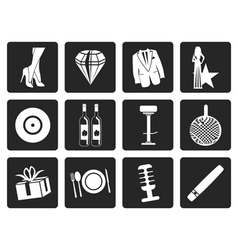 Black Luxury party and reception icons vector image