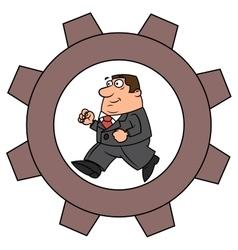 Businessman in cogwheel machine vector image