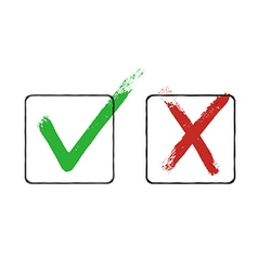 Grunge checkmarks in checkbox Red and green vector image