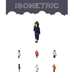 Isometric people set of businesswoman policewoman vector