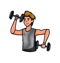Sport man dumbbell strong workout weight draw vector