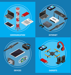 technology devices poster card set isometric view vector image vector image