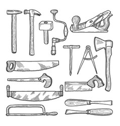 tools in carpentry workshop hand drawn vector image vector image