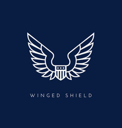 winged shield vector image