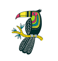 cute colorful toucan in boho style vector image vector image