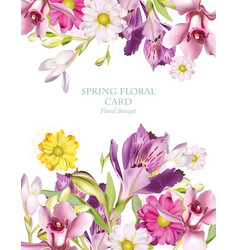 spring flowers bouquet vertical card background vector image vector image