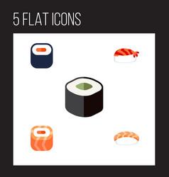 flat icon sashimi set of gourmet seafood maki vector image