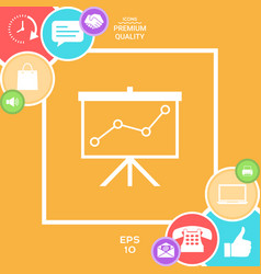 flip-chart projection screen with a graph vector image