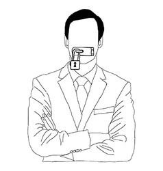 hand drawn doodles of businessman lock his mouth vector image