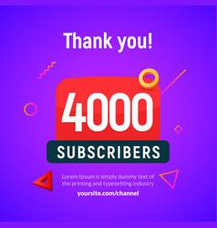 4000 followers post 4k celebration four vector image