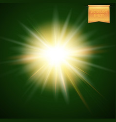 abstract of glowing warm yellow sun star burst on vector image