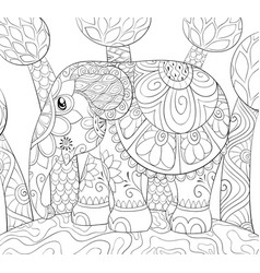 Adult coloring bookpage a cute elephant on the vector