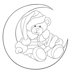 Adult coloring bookpage a santa bear on the moon vector