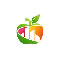 apple building real estate logo symbol icon vector image
