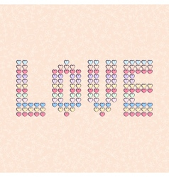 background with word love made from small hearts vector image