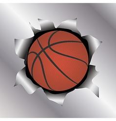 Basketball thru metal sheet vector