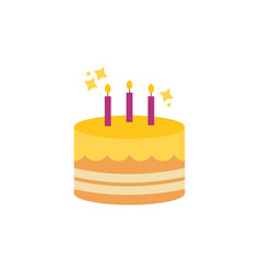 Birthday cake celebration party flat icon design vector