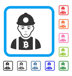Bitcoin miner framed sad icon vector