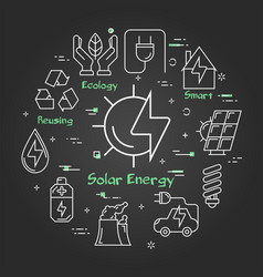 black linear banner solar energy vector image