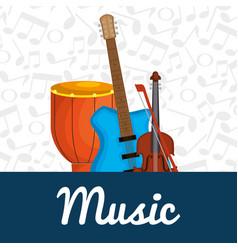 Bongo drum with instruments vector