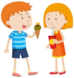 Boy eating icecream and girl drinking vector