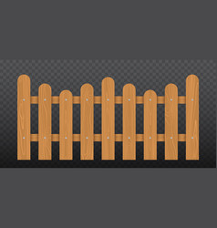 Brown wooden fence isolated vector