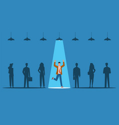 Business hiring spotlight on person from vector