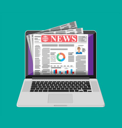 business news on screen laptop computer vector image