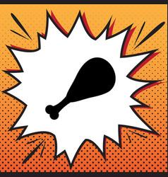 Chicken leg sign comics style icon on pop vector